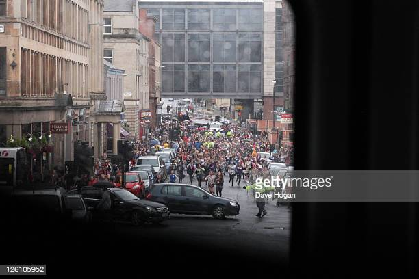 A general view of fans as One Direction visit Glasgow Manchester and London on September 11 2011 The tour was taken in a luxury helicopter to launch...
