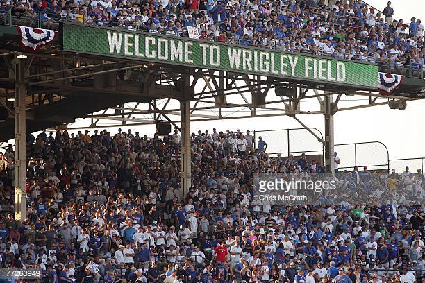 General view of fans as they sit in the stands waiting for the start of Game Three of the National League Divisional Series between the Chicago Cubs...