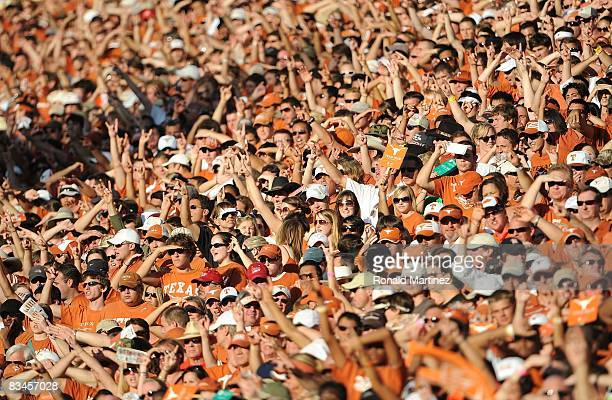 A general view of fans at Darrell K RoyalTexas Memorial Stadium during a game between the Oklahoma State Cowboys and the Texas Longhorns on October...