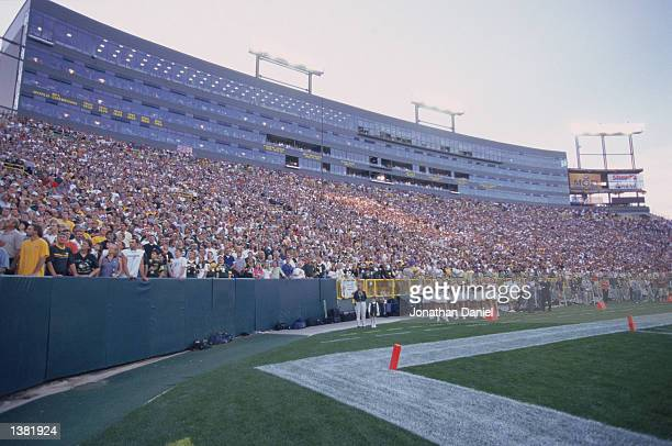 General view of fans at Lambeau Field during the NFL game between the Cleveland Browns and the Green Bay Packers on August 26 2002 in Green Bay...