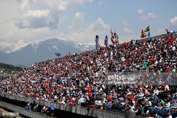 General view of fans at the circuit during the Formula One Grand Prix of Russia on April 30, 2017 in Sochi, Russia.