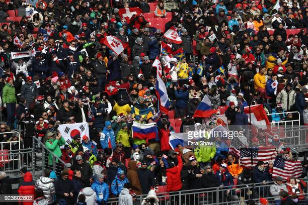 General view of fans at the finish during the Alpine Team Event on day 15 of the PyeongChang 2018 Winter Olympic Games at Yongpyong Alpine Centre on...