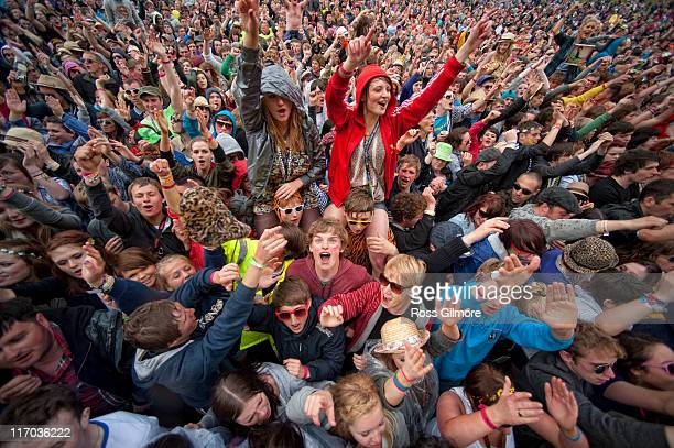 General view of fans at the main stage during the third and final day of RockNess Festival at Clune Farm, Loch Ness on June 12, 2011 in Inverness,...