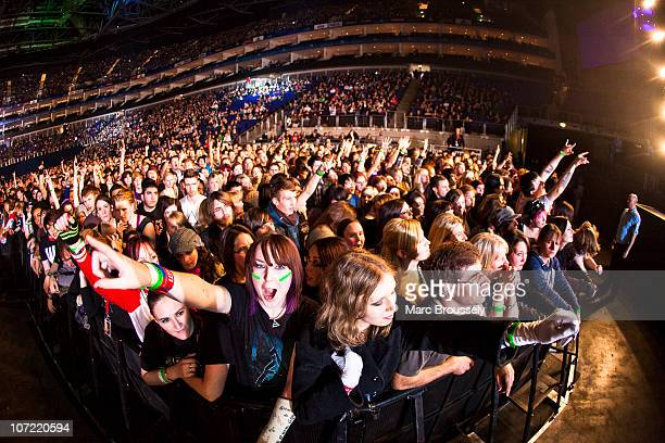 General view of fans attending the 30 Seconds To Mars show at O2 Arena on November 30 2010 in London England