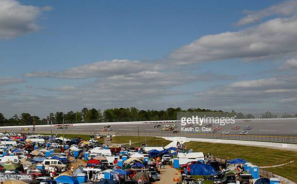 A general view of fans camping in the infield during the NASCAR Nationwide Series Aaron's 312 at Talladega Superspeedway on April 16 2011 in...