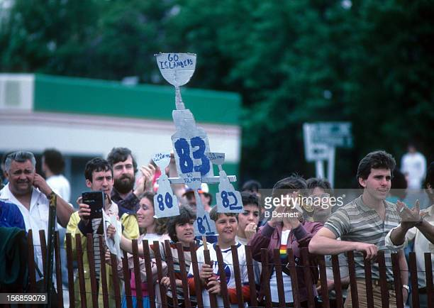 General view of fans celebrating the New York Islanders 1983 Stanley Cup Championship after defeating the Edmonton Oilers on May 19 1983 in Uniondale...