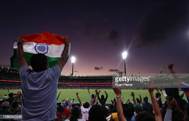 General view of fans cheering during game three of the Twenty20 International series between Australia and India at Sydney Cricket Ground on December...