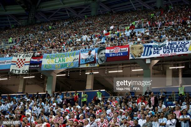 A general view of fans during the 2018 FIFA World Cup Russia group D match between Argentina and Croatia at Nizhny Novgorod Stadium on June 21 2018...