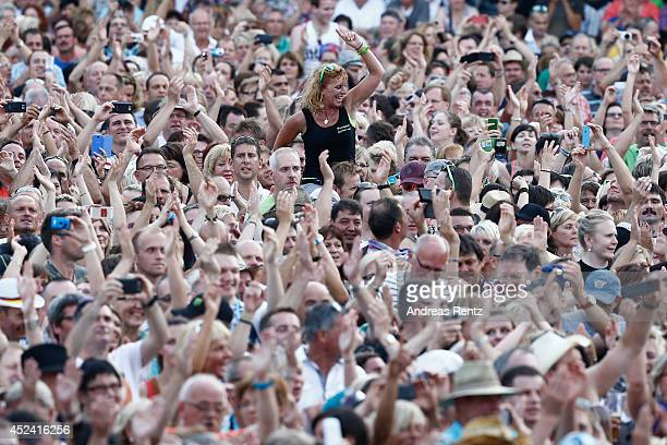 A general view of fans during the Andrea Berg Open Air festival 'Heimspiel' at mechatronik Arena on July 19 2014 in Grossaspach Germany