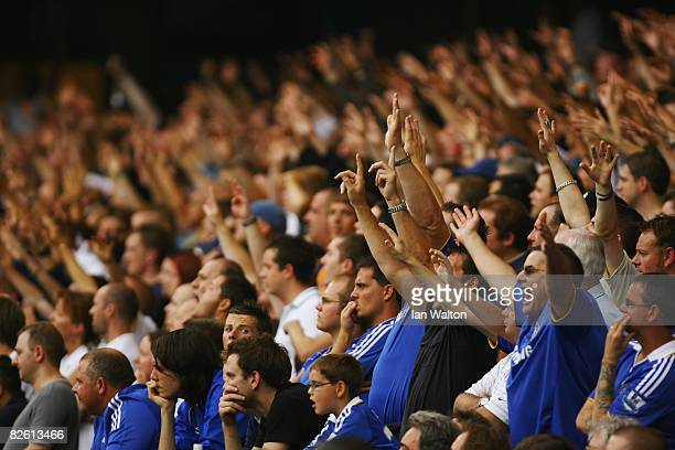 General view of fans during the Barclays Premier League match between Chelsea and Tottenham Hotspur at Stamford Bridge on August 31 2008 in London...