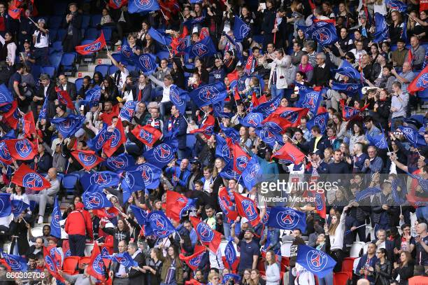 A general view of fans during the Champions League match between Paris Saint Germain and Bayern Munich at Parc des Princes on March 29 2017 in Paris...