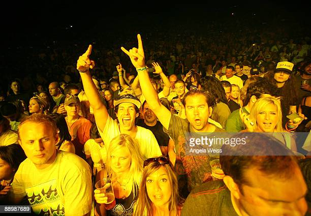 General view of fans during the Snoop Dogg concert held at Verizon Wireless Amphitheater on July 11 2009 in Irvine California