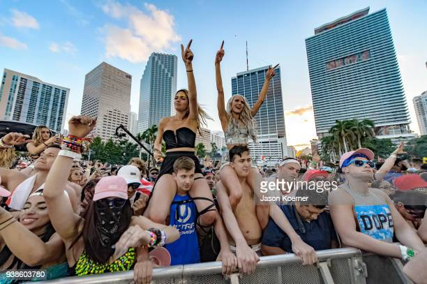 General view of fans during Ultra Music Festival 2018 at Bayfront Park on March 24 2018 in Miami Florida