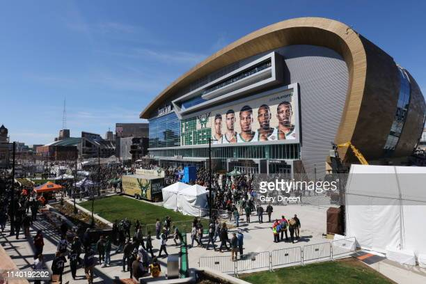 A general view of fans entering the Fiserv Forum area before Game One of the Eastern Conference Semifinals of the 2019 NBA Playoffs between the...