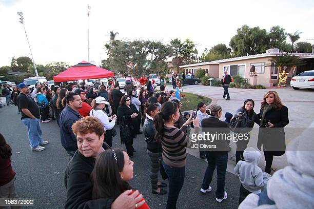 General view of fans gathered outside the residence of Rosa Saavedra mother of the singer Jenni Rivera who died in a plane crash aged 43 early Sunday...