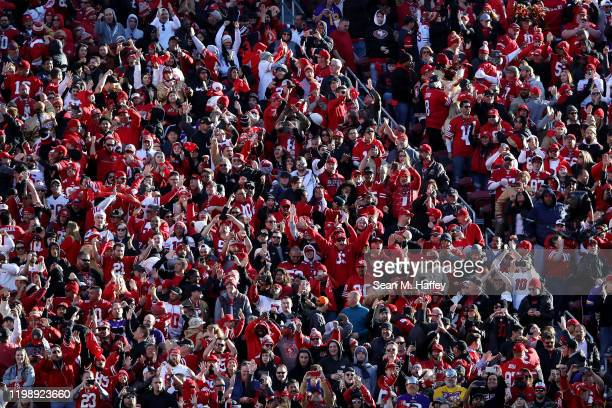 General view of fans in the grandstand during the NFC Divisional Round Playoff game against the San Francisco 49ers and the Minnesota Vikings at...