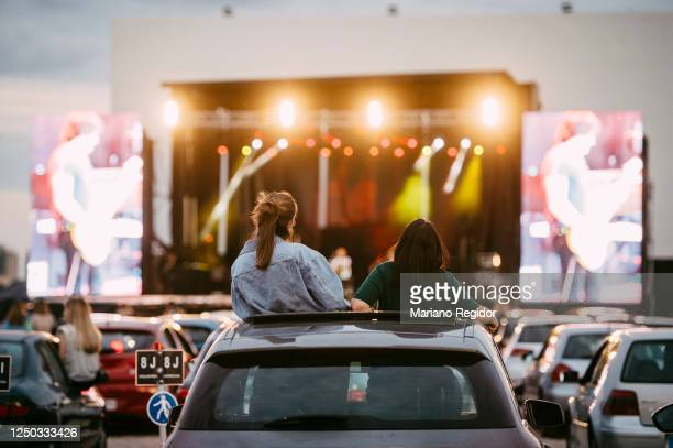 General view of fans in their cars while Spanish band Rulo y la Contrabanda perform on stage during BMW Drive-in Fest 2020 at Autocine Madrid RACE on...