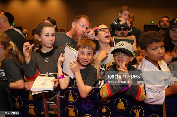 A general view of fans lining the red carpet is seen at the 2018 NHL Awards presented by Hulu at the Hard Rock Hotel Casino on June 20 2018 in Las...