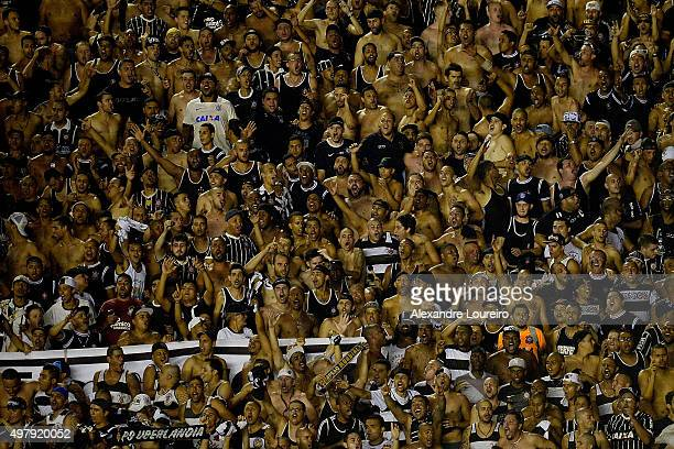 A general view of fans of Corinthians during the match between Vasco and Corinthians as part of Brasileirao Series A 2015 at Sao Januario Stadium on...