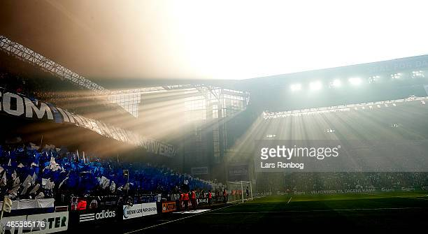General view of fans of FC Copenhagen with flags during the Danish Superliga match between FC Copenhagen and Brondby IF at Telia Parken Stadium on...