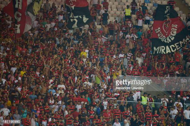 A general view of fans of Flamengo during the match between Flamengo and Atletico Paranaense for the Brazilian Series A 2013 at Maracana on September...