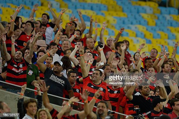 A general view of fans of Flamengo during the match between Flamengo and Fluminense for the Brazilian Series A 2013 at Maracana on November 3 2013 in...