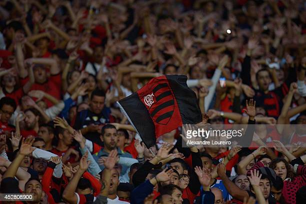 General view of fans of Flamengo during the match between Flamengo and Botafogo as part of Brasileirao Series A 2014 at Maracana stadium on July 27,...