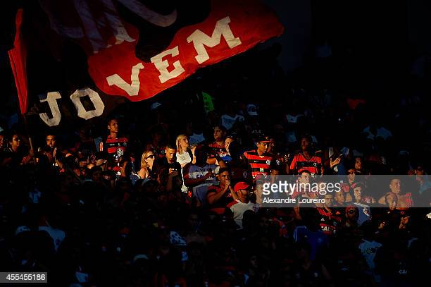 A general view of fans of Flamengo during the match between Flamengo and Corinthians as part of Brasileirao Series A 2014 at Maracana stadium on...