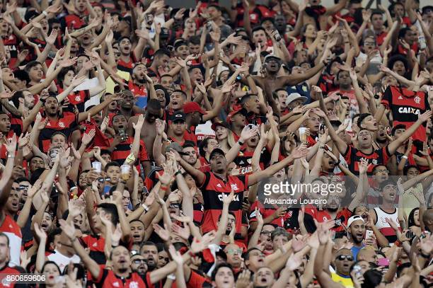 A general view of fans of Flamengo during the match between Flamengo and Fluminense as part of Brasileirao Series A 2017 at Maracana Stadium on...