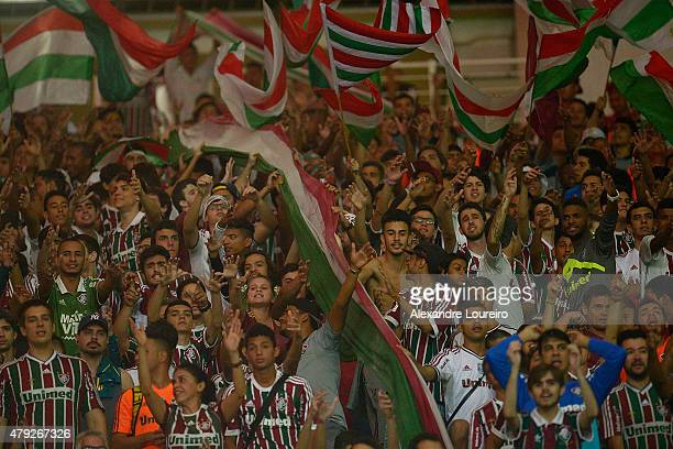 A general view of fans of Fluminense during the match between Fluminense and Santos as part of Brasileirao Series A 2015 at Maracana stadium on July...