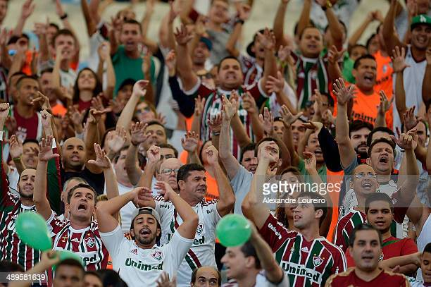 A general view of fans of Fluminense during the match between Fluminense and Flamengo as part of Brasileirao Series A 2014 at Maracana on May 11 2014...