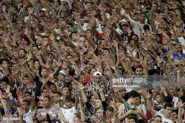 A general view of fans of Fluminense during the match between Fluminense and Avai as part of Brasileirao Series A 2017 at Maracana Stadium on October...