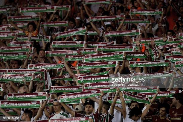 A general view of fans of Fluminense during the match between Fluminense and Sao Paulo as part of Brasileirao Series A 2017 at Maracana Stadium on...