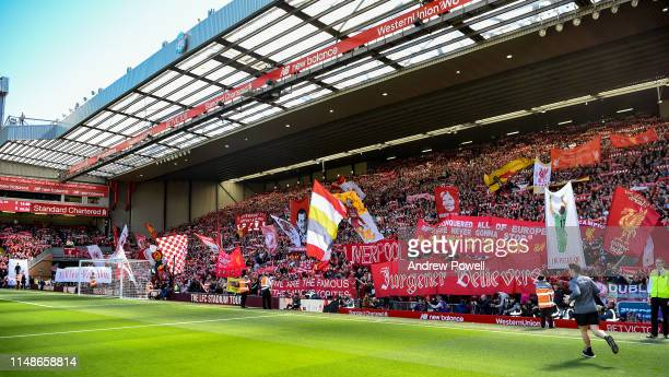 General view of fans of Liverpool during the Premier League match between Liverpool FC and Wolverhampton Wanderers at Anfield on May 12, 2019 in...