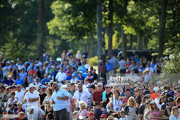 General view of fans on the 18th hole during the third round of the Deutsche Bank Championship at TPC Boston on September 4, 2016 in Norton,...