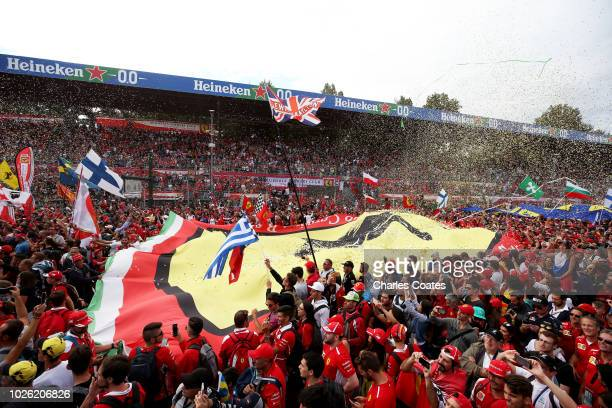 General view of fans on the track at the podium ceremony during the Formula One Grand Prix of Italy at Autodromo di Monza on September 2, 2018 in...