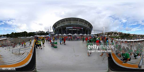 A general view of fans outside the stadium before the 2014 FIFA World Cup Brazil quarterfinal match between Netherlands v Costa Rica at Arena Fonte...