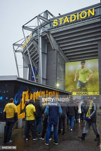 General view of fans outside the stadium prior to the Danish Alka Superliga match between Brondby IF and FC Nordsjalland at Brondby Stadion on March...