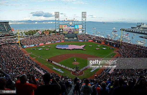 General view of fans stand for the national athem prior to Game One between the San Francisco Giants and the Detroit Tigers in the Major League...