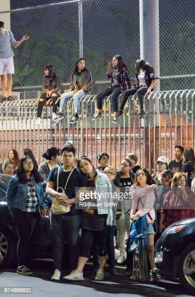 General view of fans waiting for Korean Kpop band 'BTS' are seen at 'Jimmy Kimmel Live' on November 15 2017 in Los Angeles California