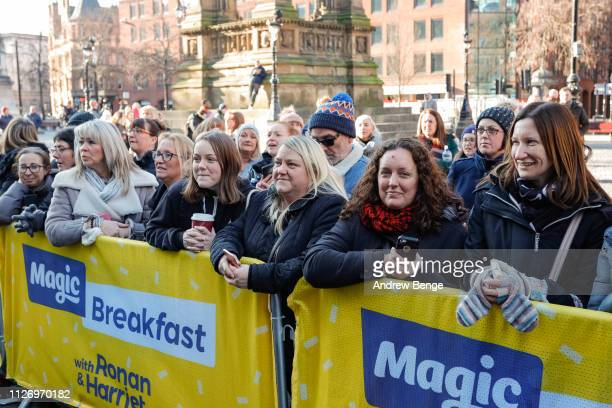 General view of fans waiting outside during a special live broadcast of Magic Radio on February 02 2019 in Manchester England