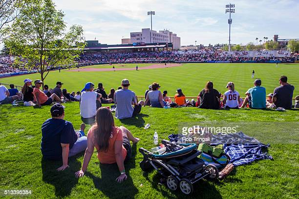 A general view of fans watching a spring training game between the San Francisco Giants and the Los Angeles Angels of Anaheim at Scottsdale Stadium...
