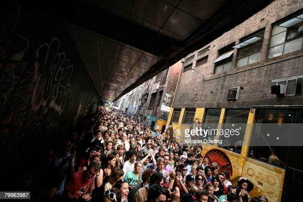 A general view of fans watching as Melbourne band Little Red perform at St Jerome's Laneway Festival 2008 at Caledonian Lane on February 24 2008 in...