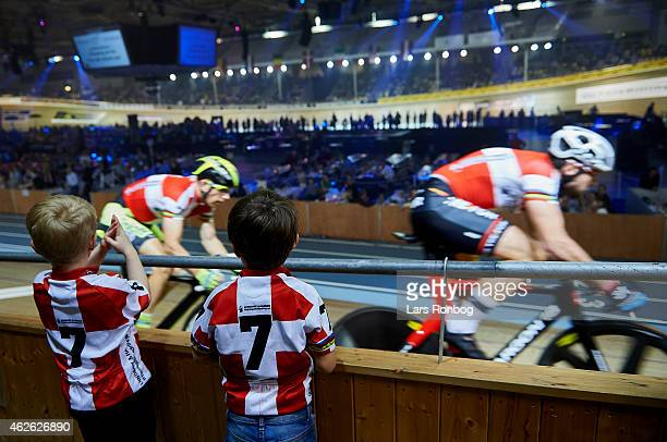 General view of fans watching Michael Morkov and Alex Rasmussen of Denmark closely during the Copenhagen Six Days Cycling Race at Ballerup Super...