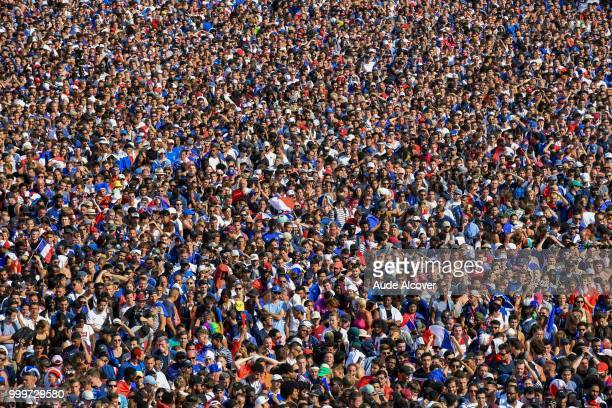 Fans in the metro going to watch the FIFA World Cup final match between France and Croatia at Fan Zone at Champ de Mars on July 15 2018 in Paris...