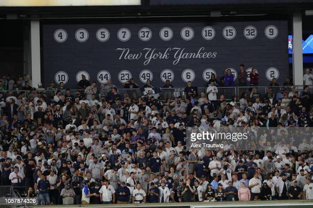A general view of fans watching the the American League Wild Card game between the Oakland Athletics and the New York Yankees at Yankee Stadium on...
