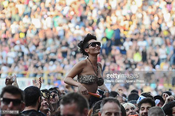 General view of fans watching Vasco Rossi perform live at Stadio Renato Dall'Ara on June 22, 2013 in Bologna, Italy.