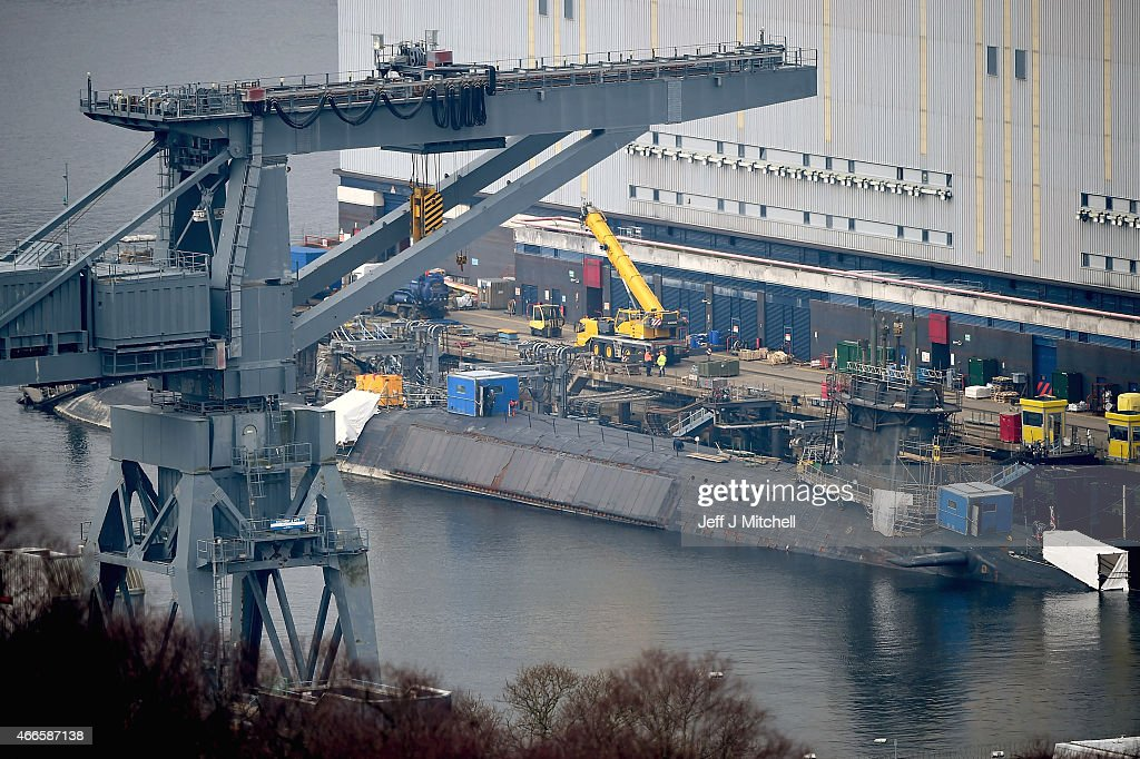 A general view of Faslane submarine base on March 17, 2015 in Faslane, Scotland. The Trident weapons system is up for renewal in 2016 and is set to be a key issue during the general election campaign. Recent polls have suggested the SNP will win the majority of Scottish seats, and if so they have said they would not lend support to its renewal in the event of hung parliament.