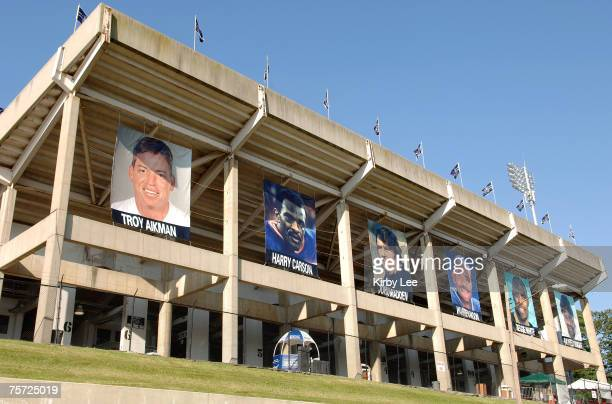 General view of Fawcett Stadium with banners of 2006 NFL Hall of Fame inductees Troy Aikman, Harry Carson, John Madden, Warren Moon, Reggie White and...