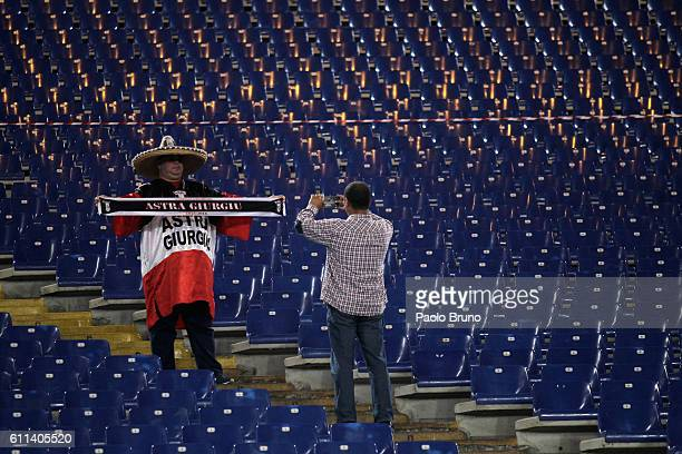 A general view of FC Astra Giurgiu fans before the UEFA Europa League match between AS Roma and FC Astra Giurgiu at Olimpico Stadium on September 29...